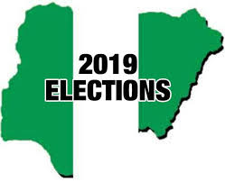 Picture of the map of Nigeria with ''2019'' written across it
