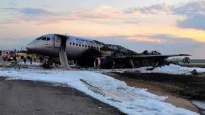 Picture of burnt Aeroflot plane