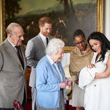 Image of Queen Elizabeth with Duke and Duchess of Sussex and their baby