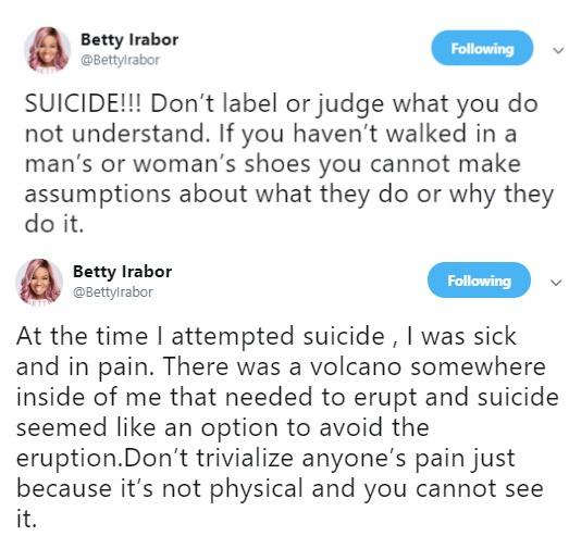Betty Irabor's tweet on suicide