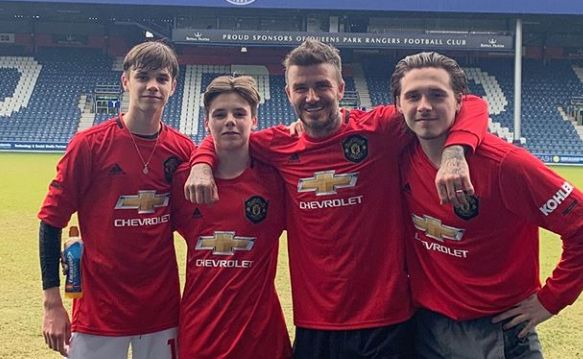 Image of David Beckham and his three sons