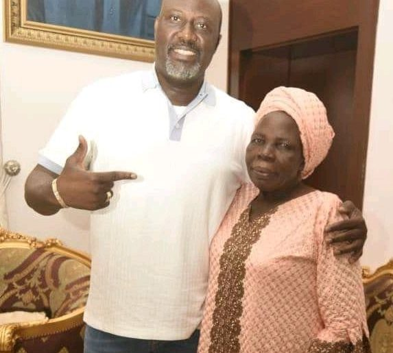 Picture of Dino Melaye and his mother.