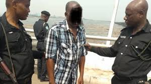 Image of man prevented from jumping into the Third Mainland Bridge by RRS