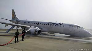 Image of Myanmar Airline plane than had emergency landing without its front wheel