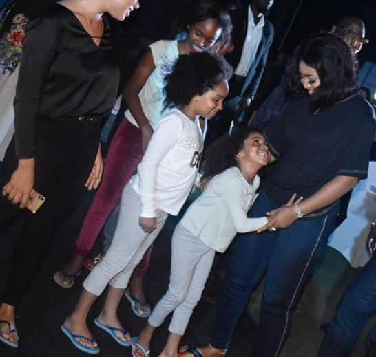 Image of Regina Daniels with Ned Nwoko's kids