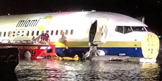 Picture of boeing 737 on water