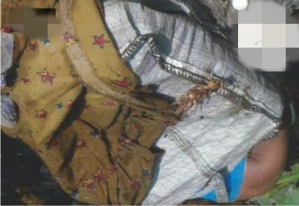 Image of a woman killed in Abraka for ritual and put into a bag.