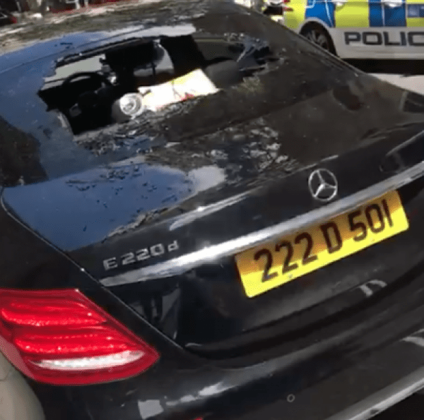 Image of cars damaged at the Nigerian embassy London.