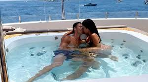 Image of Cristiano Ronaldo on vacation with Georgina Rodriguez at the French Riviera.