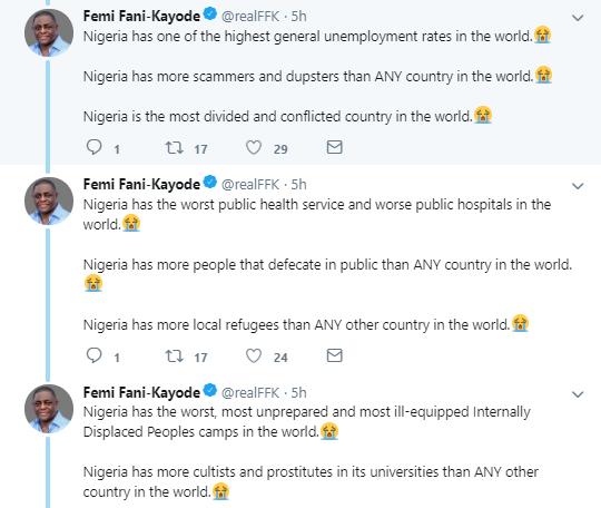Femi Fani Kayode's recent tweet