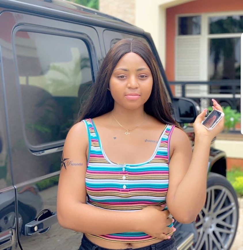 Picture of Regina Daniels with her latest arm tattoo.