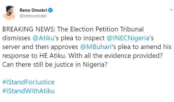 Reno's tweet after presidential tribunal judgement.