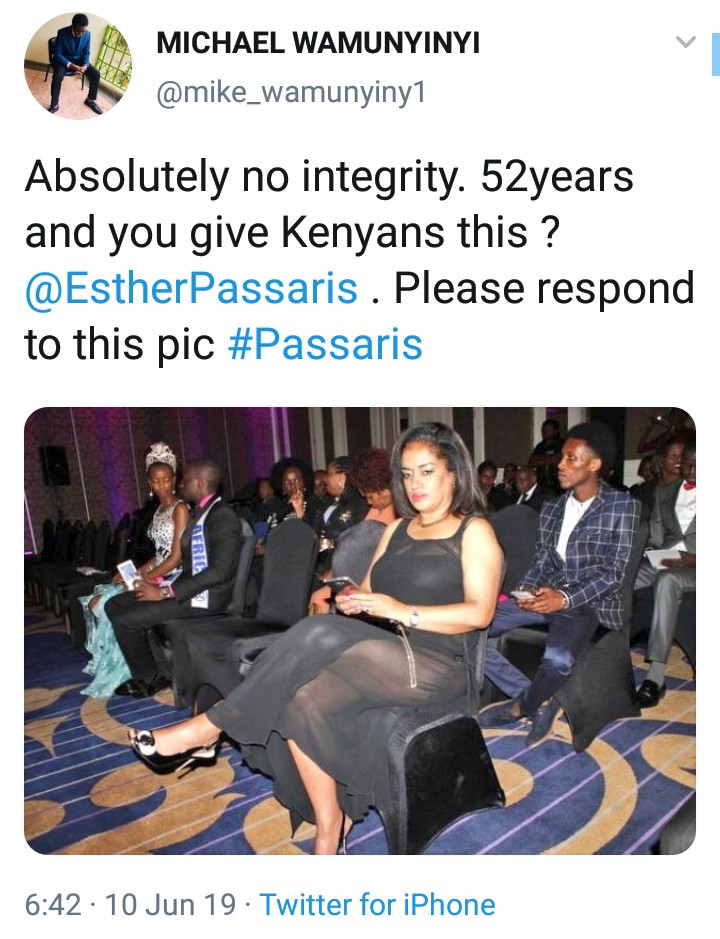 The Tweet from a Twitter user who criticized Hon. Esther M. Passaris.