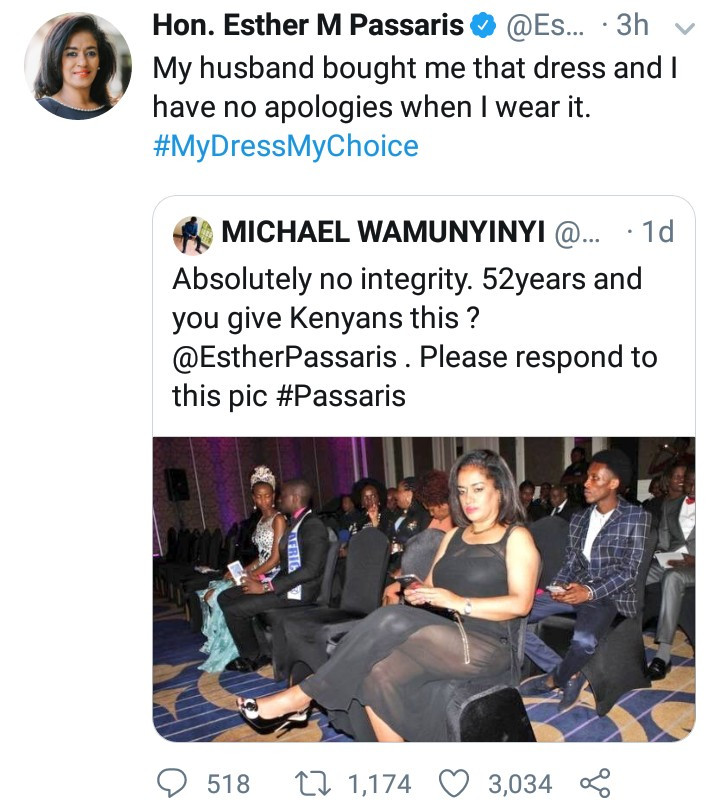 Twitter response of Esther M. Passaris, to a Twitter user who criticized her dressing