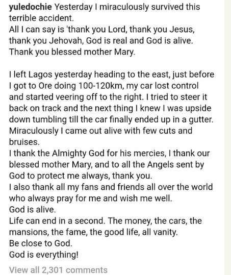 Yul Edochie's Instagram post, following his accident