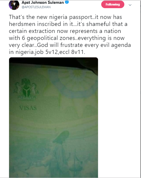 Apostle Suleman criticizes the new Nigerian passport.