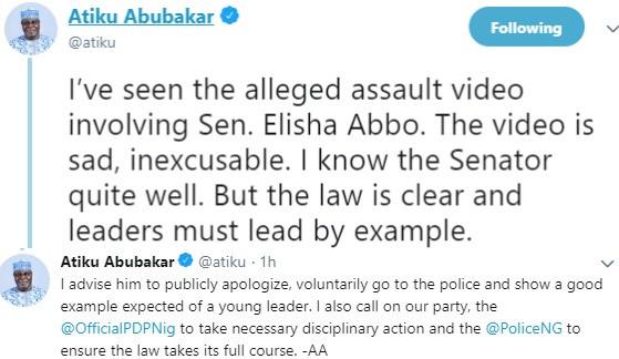 Atiku's tweet on Senator Elisha Abbo