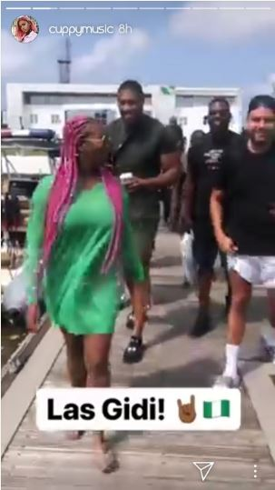 DJ Cuppy hanging out with Anthony Joshua in Lagos.