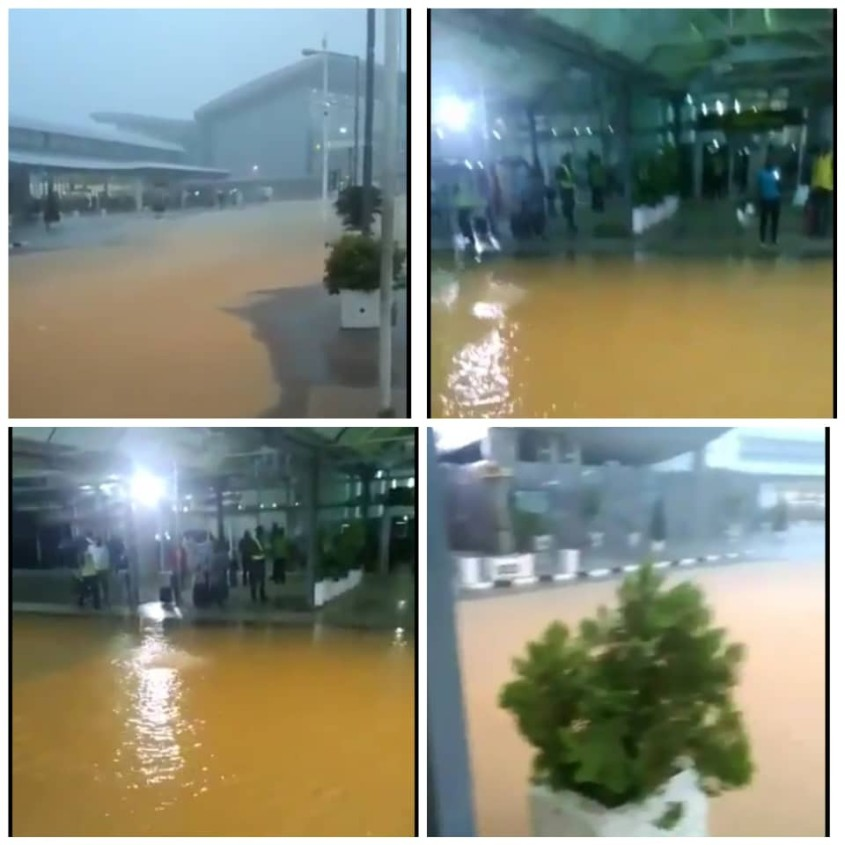 Nnamdi Azikiwe International Airport flooded after heavy downpour on Thursday morning.