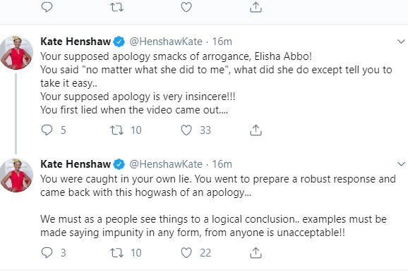 Kate Henshaw's tweet on Senator Abbo's apology.