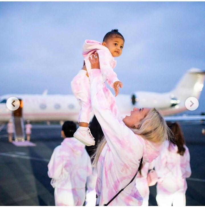 "Kylie Jenner promotes her skin care line ""kylie Skin'' with a trip with her girls in a branded pink private jet all dressed in pink."