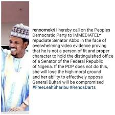 Reno Omokri's tweet on Senator Abbo