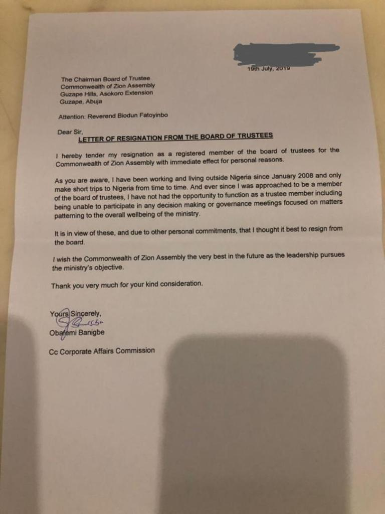 Pastor Obafemi Banigbe, COZA Board of Trustees members resignation-letter.