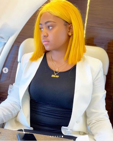 Regina Daniels poses in hubby's private jet in new photos.