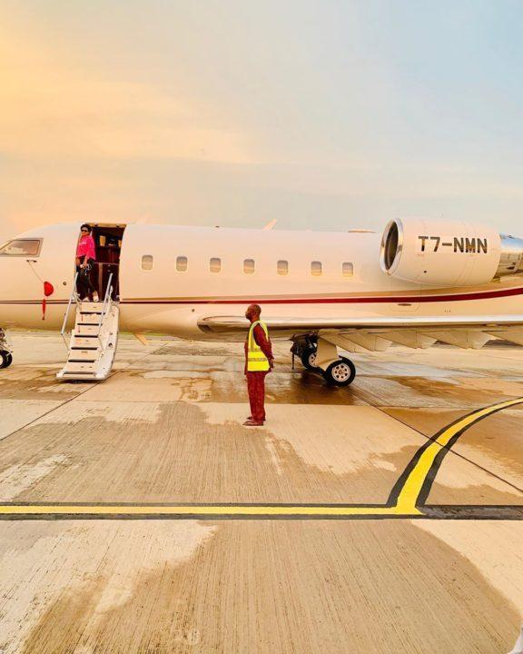 Regina Daniels shares photos of new jet of hubby, Ned Nwoko