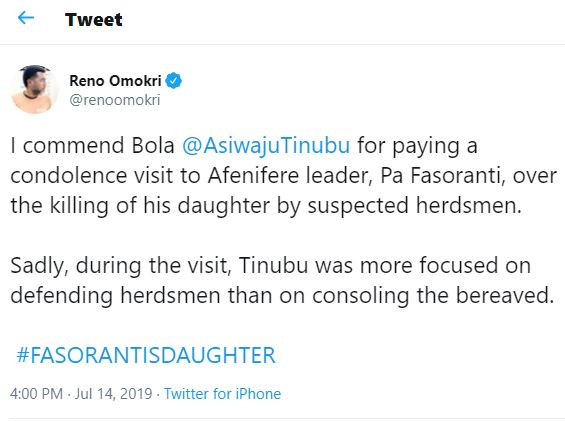 Reno's tweet on Tinubu's condolence visit to Afenifere's leader.