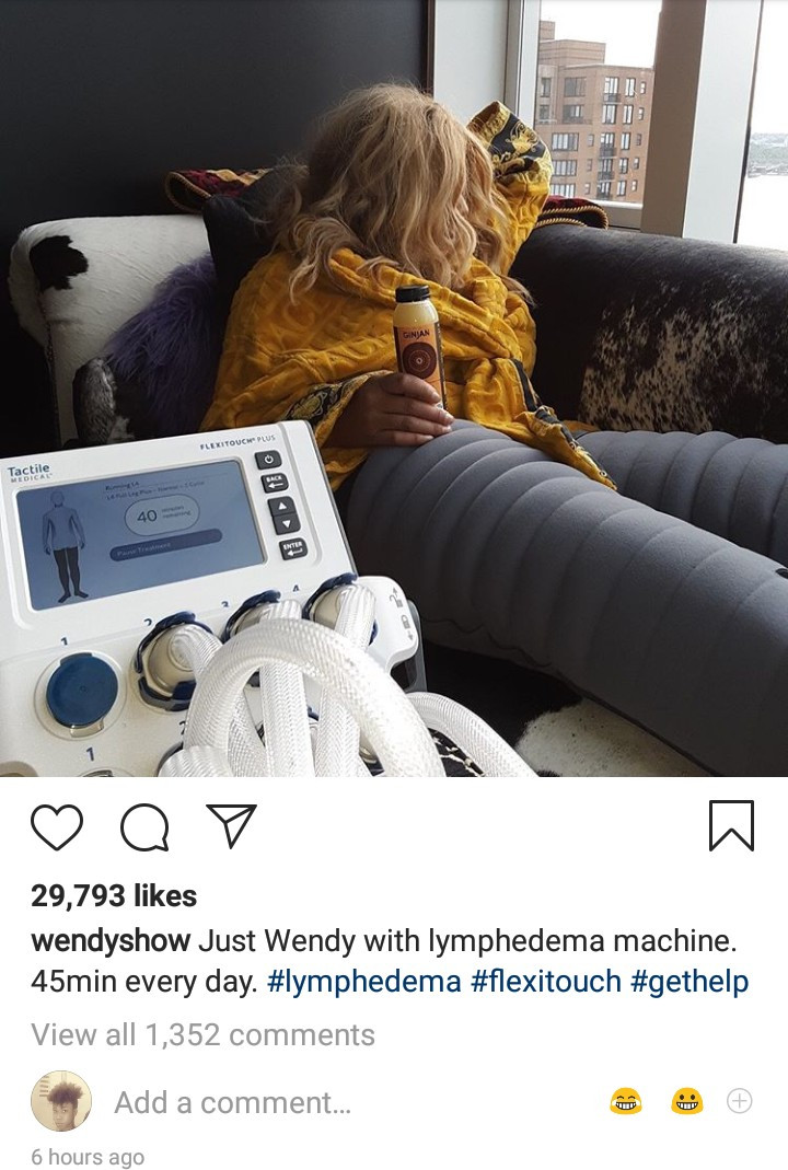 Wendy Williams diagnosed with Lymphedema, shares photo as she begins treatment.