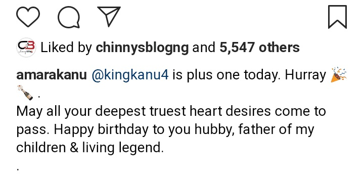Amara, Kanu Nwankwo's wife Instagram post as her hubby celebrates his 43rd birthday.