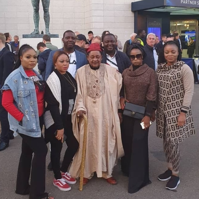 Oba Lamidi Adeyem on holiday in London with his wives.