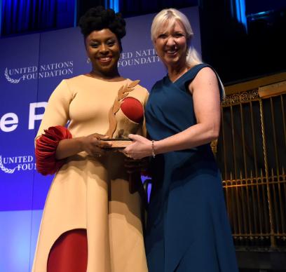 Chimamanda Ngozi Adichie receiving an award at the UN