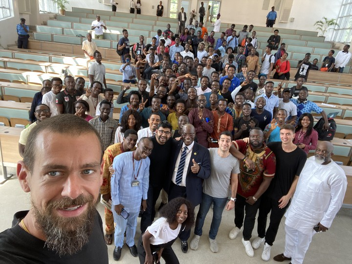 Jack Dorsey with University of Lagos students.