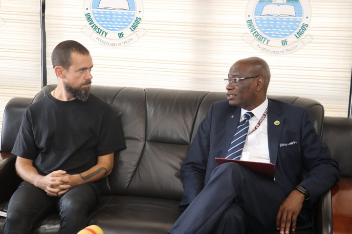 Twitter CEO, Jack Dorsey with the Vice Chancellor of the University of Lagos