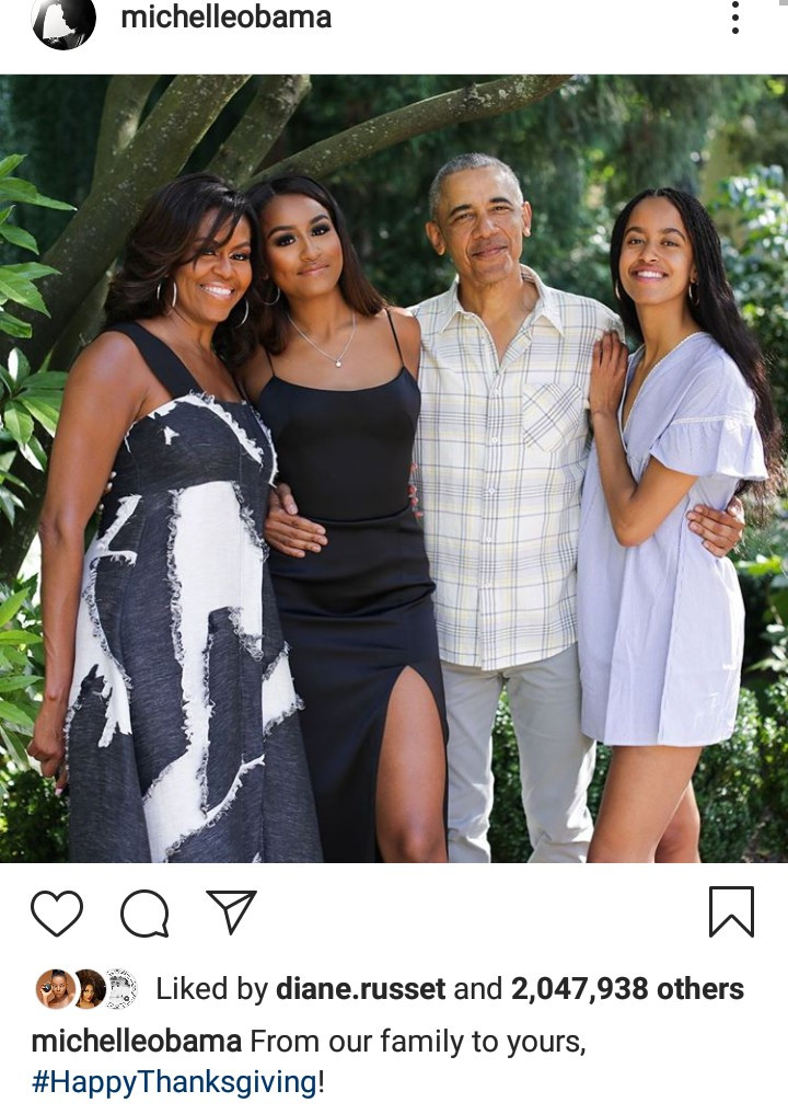 The Obamas on Thanksgiving 2019