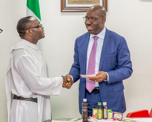 Governor Obaseki and Fr. Anselm Adodo.